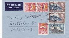 Ceylon 1950 - Airmail cover to Switzerland, beautiful franking, uncommon