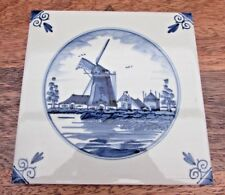 DELFT DECORATIVE TILE WINDMILL WITH WALL HANGER 15CM / 6 INCH SQUARE HOLLAND