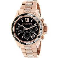 MICHAEL KORS MK5875 EVEREST Rose Gold Black Crystal Glitz Steel Women Watch