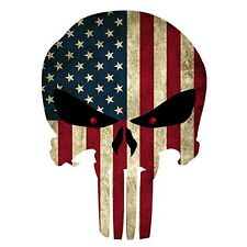 """4""""x3"""" Punisher Skull American Flag Sticker Decal Tactical Military Label for Car"""