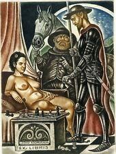 Quixote Nude Chess Original Limited Edition Ex libris Etching, Sergey Kirnitskiy