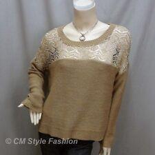 * Crochet Knit Eyelet Drop Shoulder Sweater Top Golden Khaki Brown L