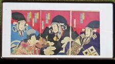 Original Japanese Woodblock Print, Ukiyo-e, kunichika toyohar, 3 sheets