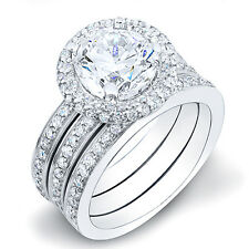 3.51 Ct. Round Cut Halo Pave Diamond Engagement Ring w/ Matching Bands EGL H,VS1