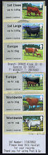 CATTLE WINCOR 60g EUROPE WORLDWIDE Post & Go COLLECTORS SET OF 6 WITH RECEIPT