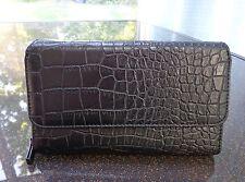 Mundi Big Fat Wallet Black Croco Faux Leather Clutch/Checkbook Cover/Organizer
