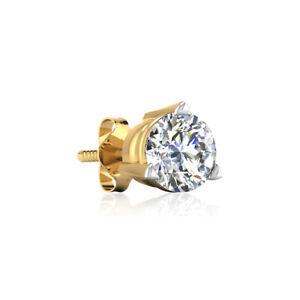 14K Yellow Gold Men's Single Stud Earrings 1.00 Ct Diamond Solitaire Screw Back