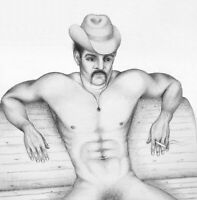Print Of Male Pencil Drawing -Taking A Rest Man Pin Up Art Figure Artist Andreev