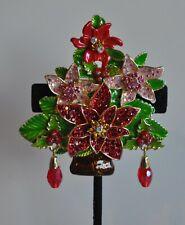 KIRKS FOLLY  CRYSTAL POINSETTIA CHRISTMAS TREE PIN IN  GOLD TONE