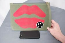 New $125 LAUREN MOSHI Lusha Red Airbrush mouth denim clutch