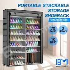 70 Pairs 10 Tier Shoe Rack Cabinet Stackable 2 Row Storage Organiser Shelf Stand