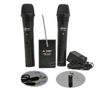 AXESS Dual Two Handheld Wireless Cordless Microphone System For Karaoke/ PA / DJ