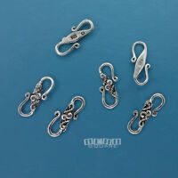 6 PC Antiqued Solid Sterling Silver ap.13mm Carved S Hook Clasp Connector #33270