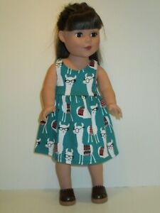 """Llamas/Green/Glasses Sundress for 18"""" Doll Clothes American Girl"""
