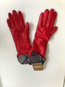 Barbour Lady Jane Handschuhe Small Frauen Leder Rot Gloves