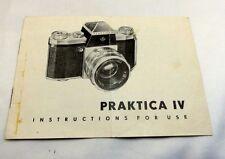 Praktica IV Instructions for USE Camera Brochure  (EN) English vintage