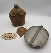 WW1 US Army Mess Kit / Water Bottle Canteen / Insignia & Plaque William Pagel
