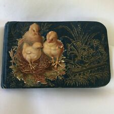 Antique Victorian 1887 Autograph Book signed with entries Baby Chick Design