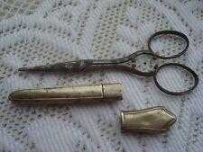 Rare Antique Victorian Steel Sewing Scissors Silver Etui Craft Needles Embroider