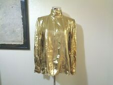 80s LLOYD WILLIAMS GOLD LAME MOCK NECK BACK BUTTONED DISCO BLOUSE SZ 6