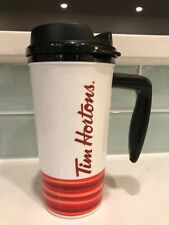 Tim Hortons Plastic Travel Mug White With Red Stripes Black Inside 16oz 7.25""