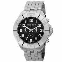 Men's Akribos XXIV AK767SSB Swiss Quartz Multifunction Silve-tone Bracelet Watch