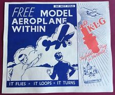 K.L.G. Spark Plug Advert - With Free Model Paper Aeroplane to Make & Fly