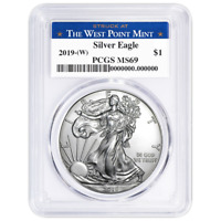 2019 (W) $1 American Silver Eagle PCGS MS69 West Point Label