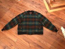 Vintage Woolrich Men's Size XL Wool Full Zip Jacket Green Plaid