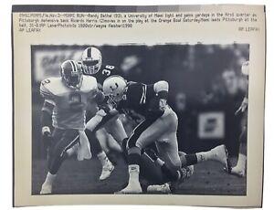 Vintage AP Wire LEAFDESK Press Photo Pic  1990 ORANGE BOWL  Univ. Miami vs. PITT
