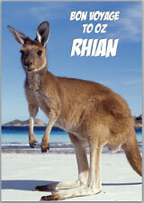 Bon Voyage to Australia Kangaroo Card A5 Personalised with your own wording