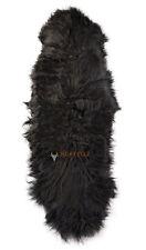 Öko Lammfell Teppich Fell-Teppich Bettvorleger schwarz ca. 200 x 60 cm