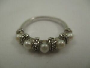 ZMR Sterling Silver Ring Pearl and White Sapphire Band 3.26g Size 8