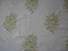 """SANDERSON CURTAIN FABRIC DESIGN """"Nanine"""" 2 METRES EMBROIDERED DESIGN GOLD/GREEN"""