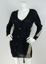 Pas de Calais Sz M Navy Wool Blend Asymmetrical Buttons Ribbed Cardigan Sweater