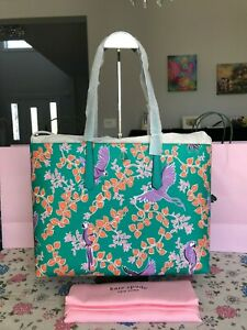 Kate Spade Molly Bird Party Large Tote pxrub152 Green Multi