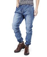 Mens Jeans Slim Fit Jogger Pants Workwear Cuffed Leg Waist Size 30W-36W 30L