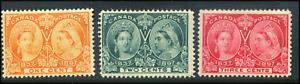 Canada #51-53 mint F/VF OG NH 1897 Queen Victoria Diamond Jubilee Part Set NICE!