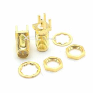 3 x SMA RP female PCB solder 1.6mm Clip Edge mount Nut Bulkhead Coax Socket Port
