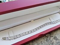 Bracelet Riviera Tennis Bracelet Platinum finish with Created Diamond two Row