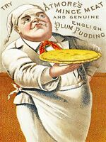 ADVERT FOOD MINCE MEAT ENGLISH PLUM PUDDING CHEF PIE FLAN PASTRY UK PRINT LV893