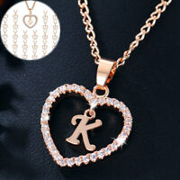 Alphabet Letter A-Z Love Heart Crystal Pendant Chain Fashion Gold Necklace Gift