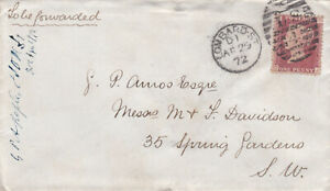 1872 QV LOMBARD STREET LS =4= COVER WITH A 1d PENNY RED STAMP 99p START!