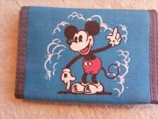 Mickey Mouse Vintage Happiness Wallet Blue Canvas Hook-Loop Disney Billfold