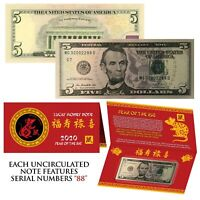2020 Lunar Chinese New YEAR of the RAT Lucky U.S. $5 Bill w/ Red Folder - S/N 88