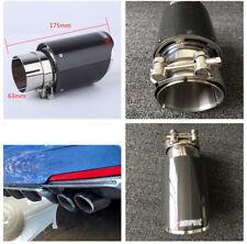 Real Carbon Fiber Muffler Exhaust Tip 63MM End Pipe for Car Rear Bumper Diffuser