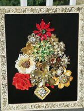 VINTAGE Framed COSTUME JEWELRY Christmas Tree ART By PaulaRae