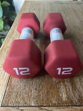 Brand New CAP Neoprene 2 Dumbbell 12 Lb PAIR Hex Weights Free FAST Shipping