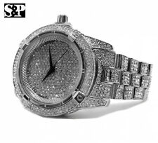 Men Hip Hop White Gold Plated Iced Out Bling Quavo Metal Band Clubbing Watch