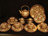 MARKED Shuzan JAPANESE TAISHO SATSUMA THOUSAND FLOWER TEA SET CUP & SAUCER PLATE